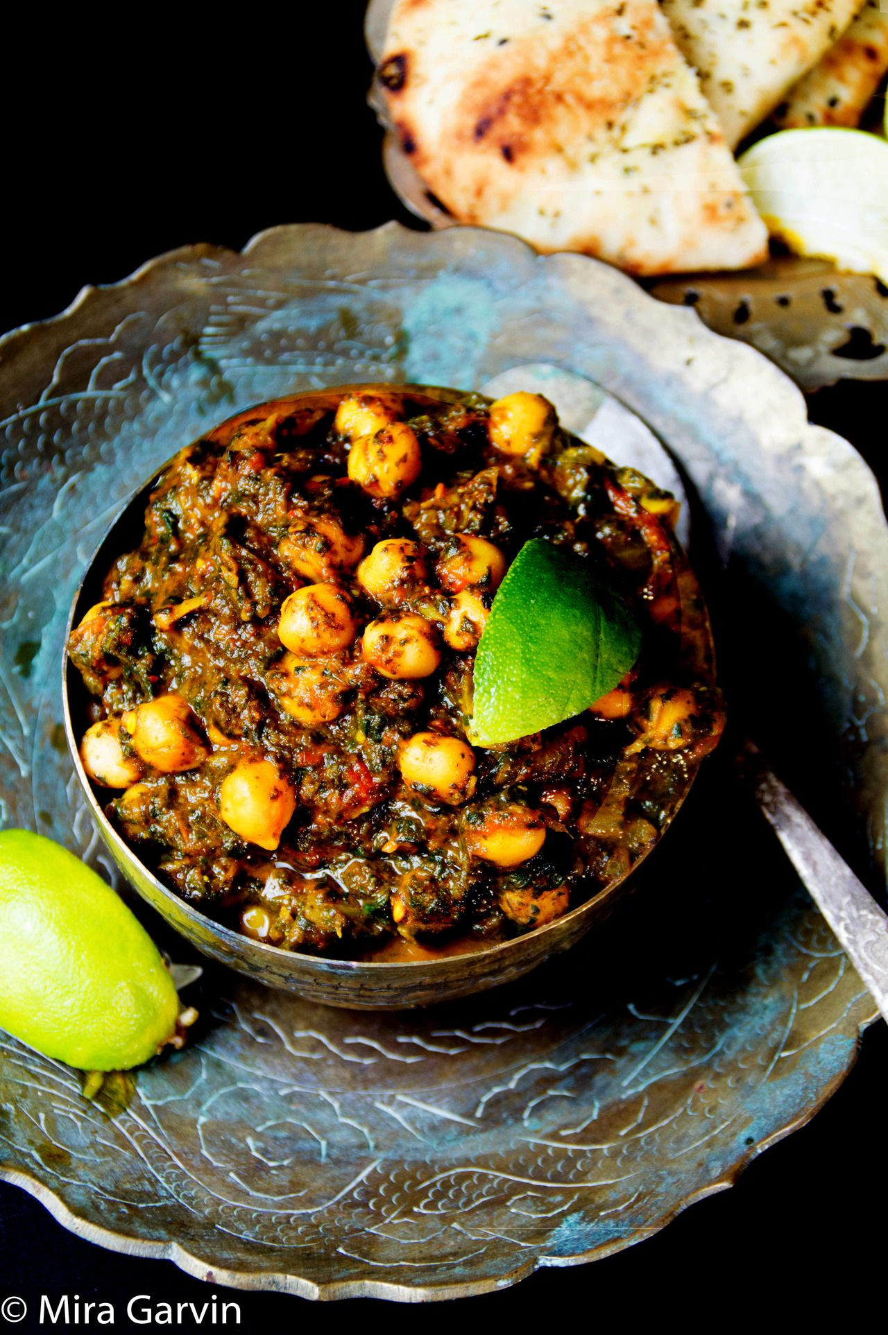 Spinach and Chickpea in Tomato SauceSaag Recipe