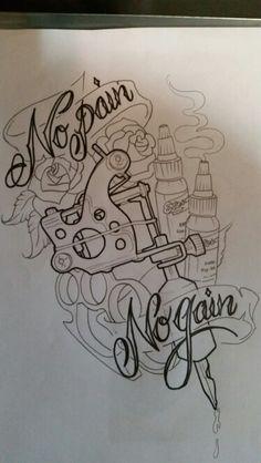 Custom Tattoo Machine design sketch by Brad Mallory Tried and True Tattoo Parlor...