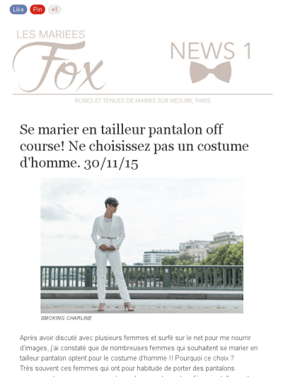 LES MARIEES FOX NEWS 1 #mariagecivil #smoking #mariage #tailleurfemme #bride #weddingday