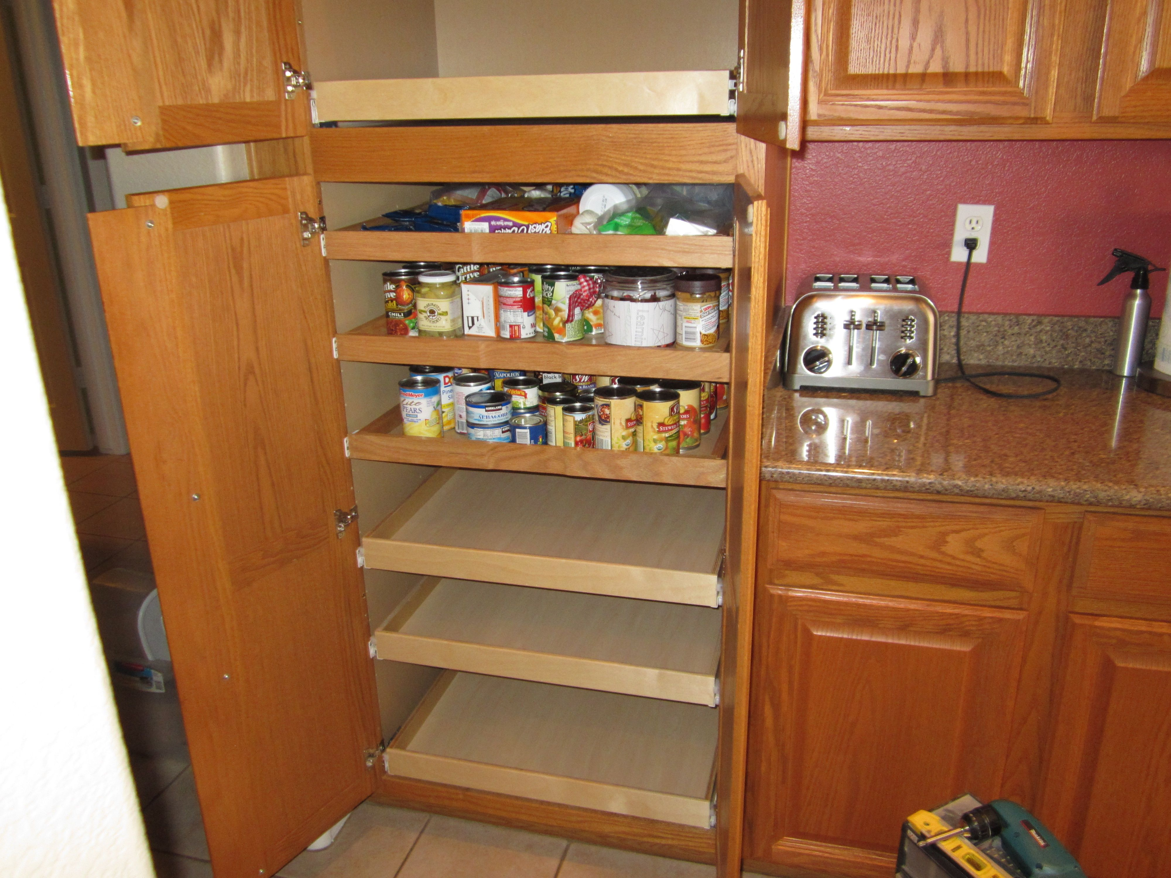 Double Door Pantry Cabinet With Pull Out Shelves Added