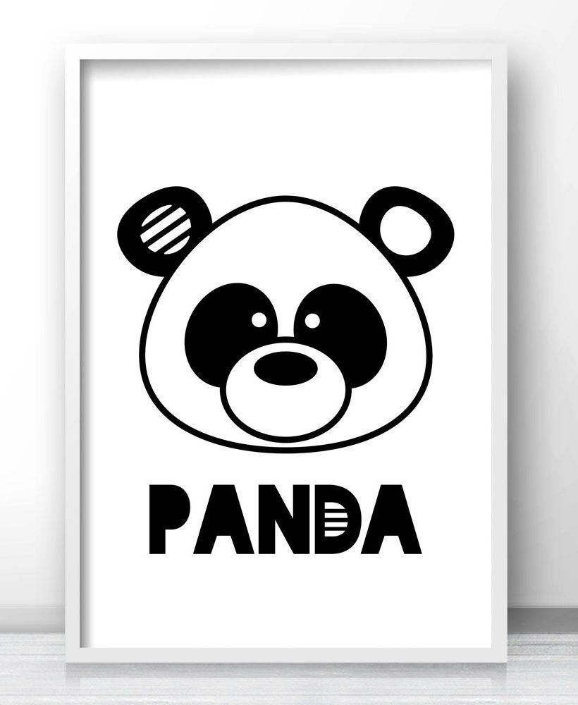 Panda Bear Nursery Wall Art Printable Kids Wall Art Kids Room