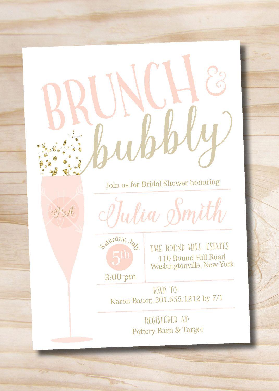 Brunch and Bubbly Bridal Shower Invitation, Confetti Glitter Bridal ...