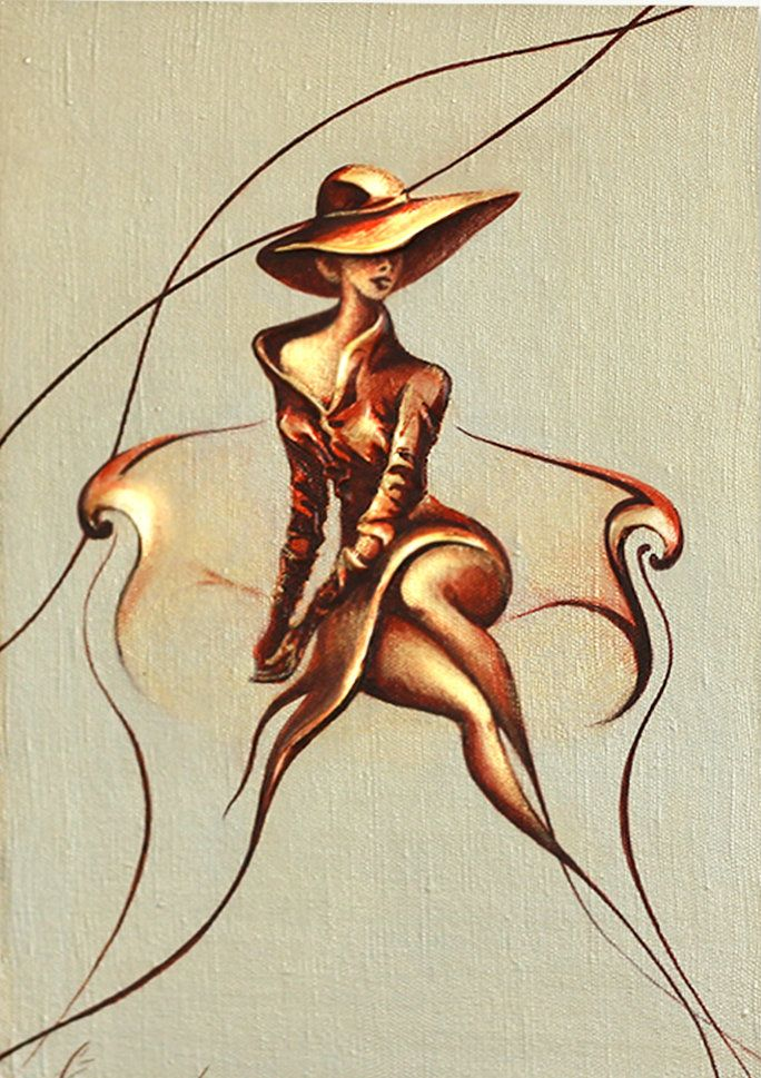 Gold Art Oil Painting Figure Art Modern Women Canvas Painting Minimalist Art by Raen , Canvas Art Painting – Ahead of Dreams- Wall Art