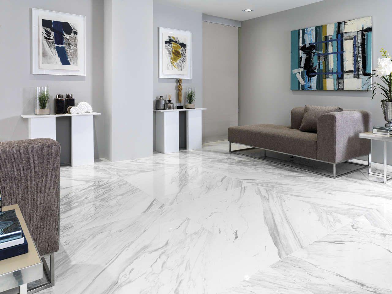 Technical porcelain floor tiles Marble Calacatta Polished 119x119 cm ...