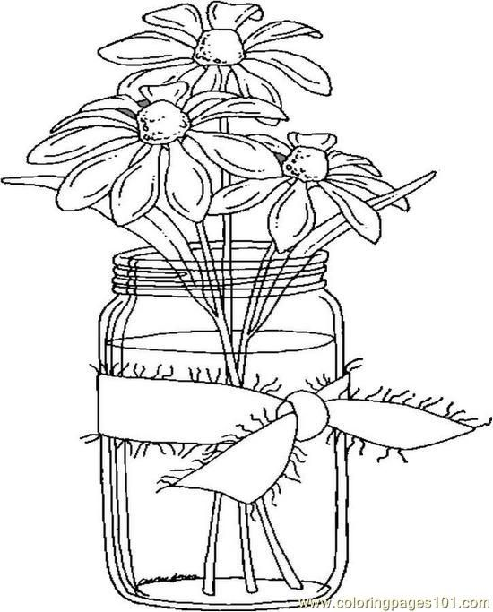 Mason Jar Flower Coloring Page Google Search Coloring Pages Flower Coloring Pages Coloring Book Pages