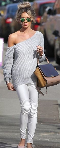 gray off the shoulder sweater and white skinny jeans