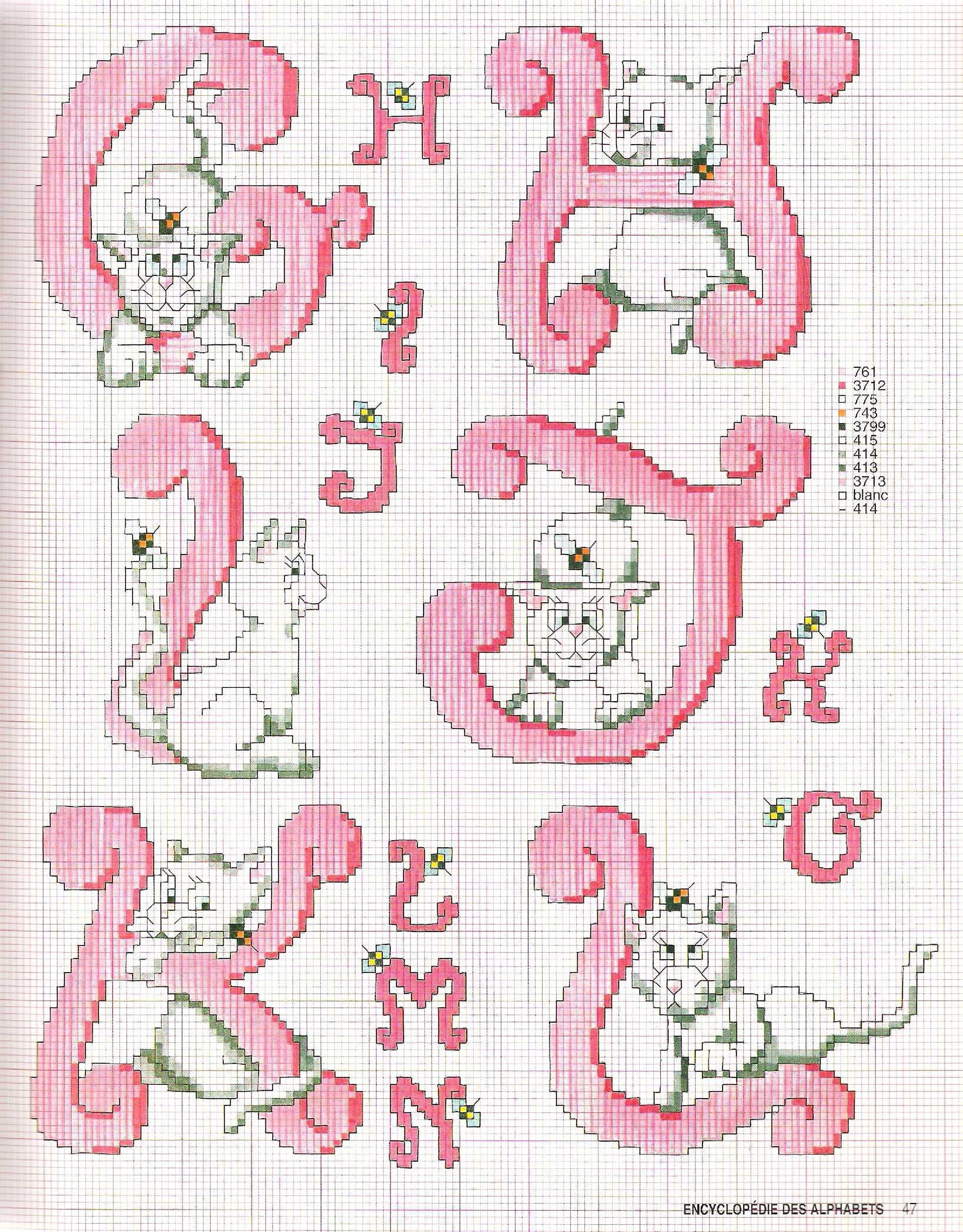 Alfabeto rosa con gatti B