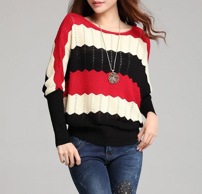 Stylish Scoop Neck Color Matching Openwork Striped Design Batwing Sleeves Loose-Fitting Women's Knitwear