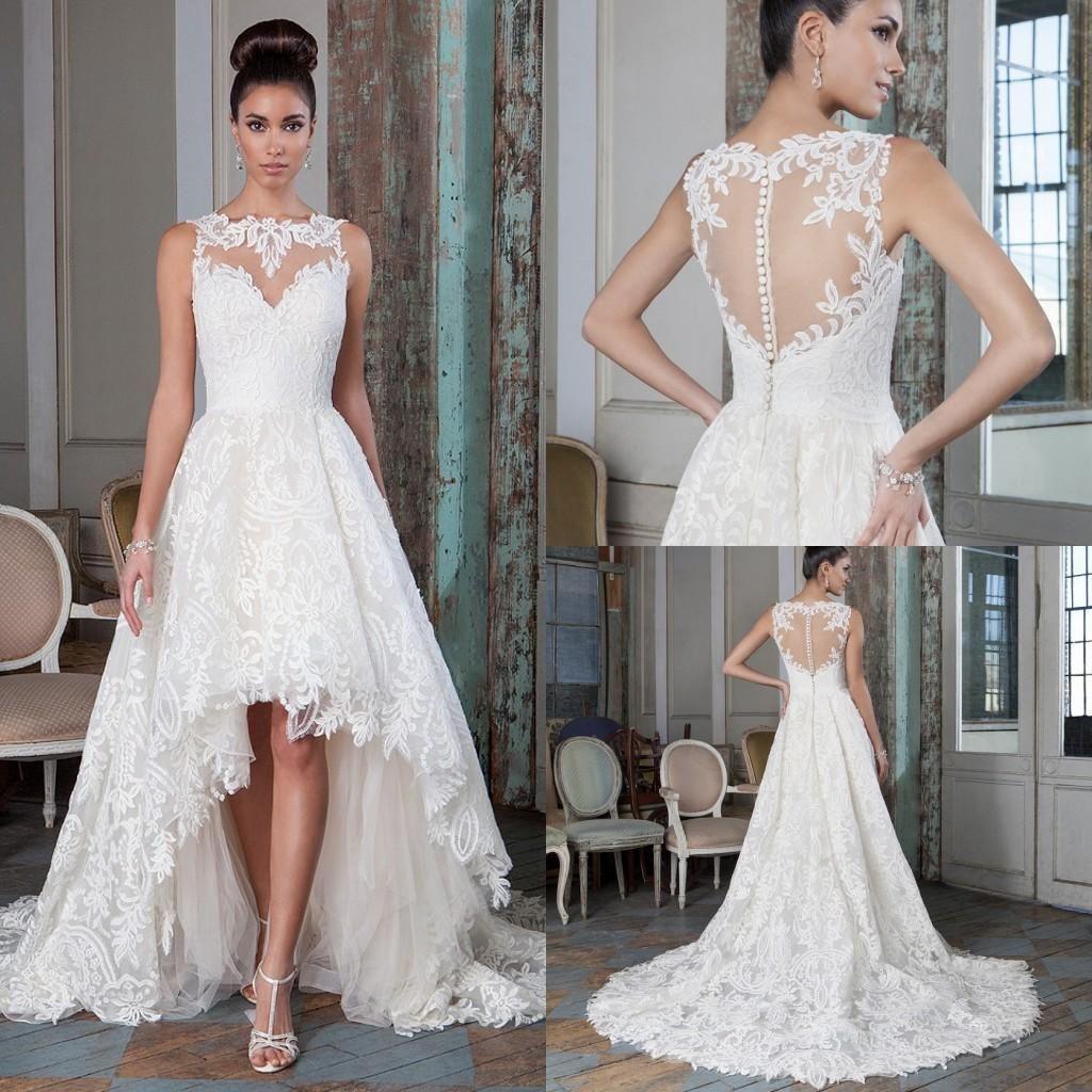 Plus size lace a line wedding dresses high low court train