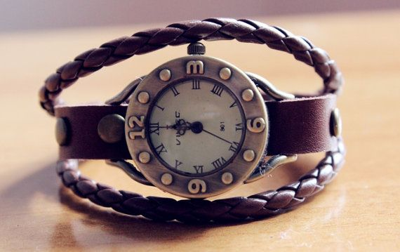 antique watch face wrist watch leather wrist by lazypigzbusiness, $17.99