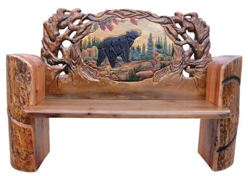Carved Bear Log Bench Up North Pinterest Logs Bears