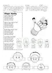 English worksheet: Finger Family Song Lyrics (+Puppets