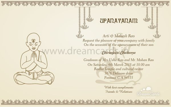Upanayanam Invitation Card For The Thread Ceremony