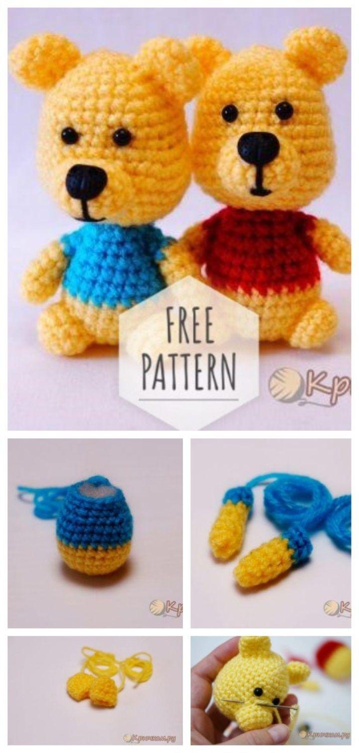 Little crochet bear free pattern #crochetbear