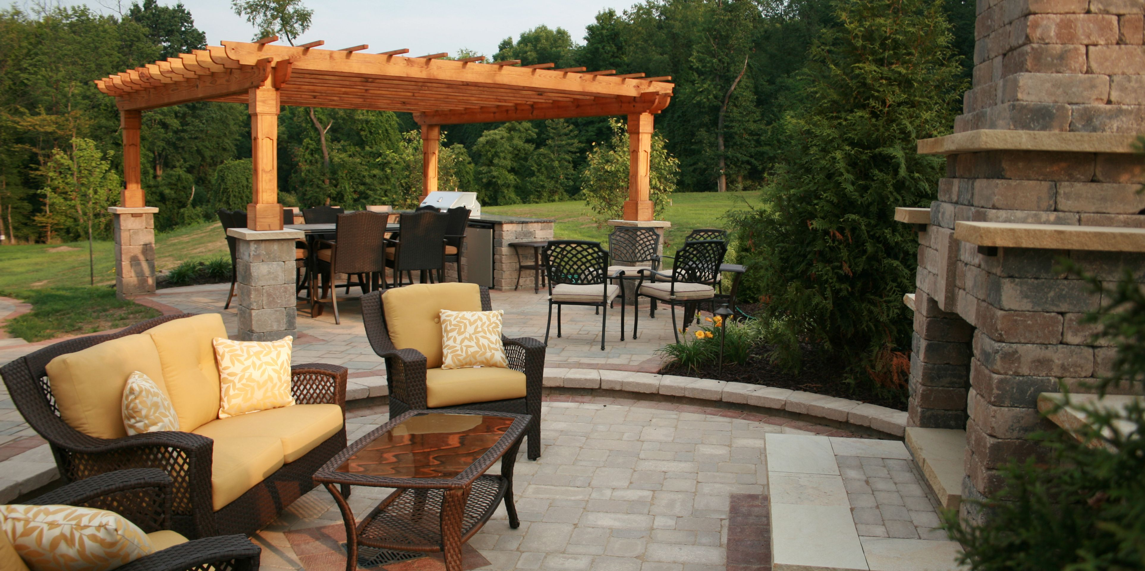 Berlin Gardens Wood Outback Pergola, Customized To Fit With Pillars. Paver  Patio With Fireplace