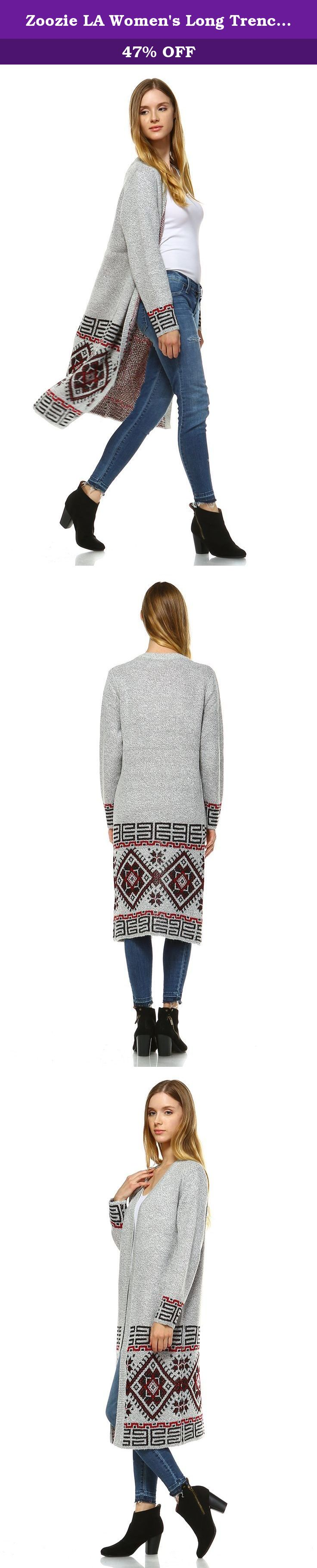 Zoozie LA Women's Long Trench Aztec Cardigan Tribal Sweater Border Gray M/L. 100% Brand New with Tags; Premium fabric used only; Aztec Border and Holiday Isle colors are made of Acyrlic and Nylon; Aztec Diamonds, Harrys Geometric Aztec, are made of Acyrlic. High Slit color is made of Polyester. Extra long length for a extra fashionable flare; Looks great in pictures but even better in person! This cardigan sweater is with boyfriend sweater design so it runs large. If you normally wear a...