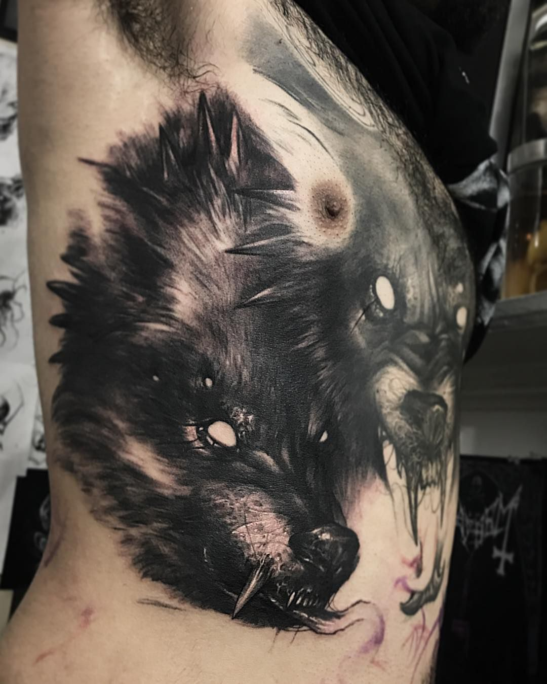 3rd Wolf Head On This Cerberus On Tattoosbychico714 Inprogress Cerberus Evil Wolf Tattoo Worldfamousink Bal Hand Tattoos Tattoos Head Tattoos