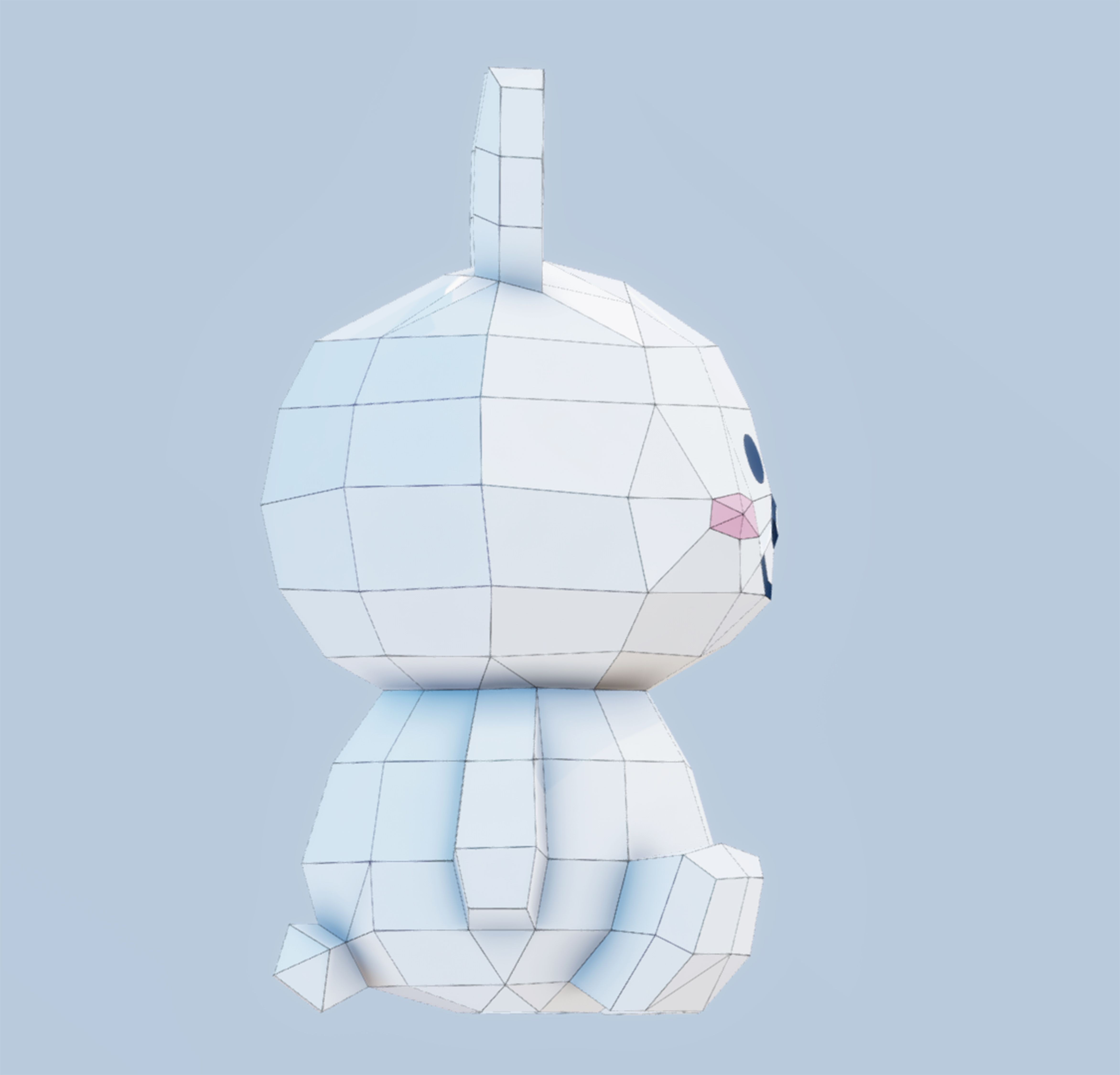 animal toy download papercraft line friends Rabbit paper template low poly model paperstuff PDF lowpoly pepakura Cony