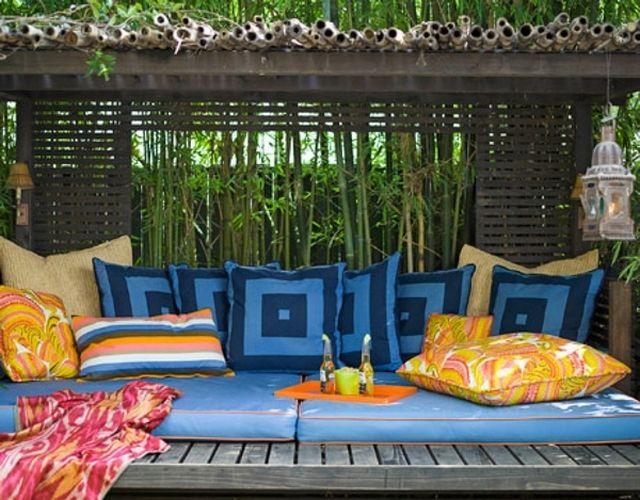 Garten Terrasse Bohemian Style Kissen Bambus Sichtschutz ... Ideen Einrichtung Der Gartenterrasse