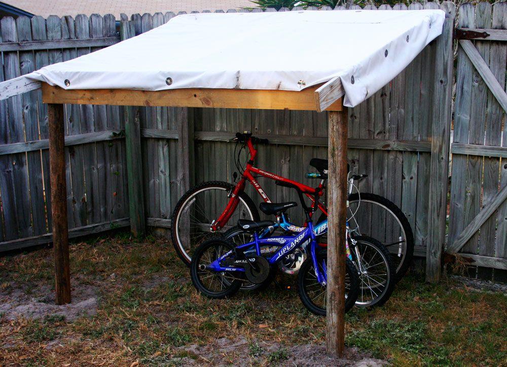 Backyard bike shelter google search garden yard for Diy outdoor bike storage