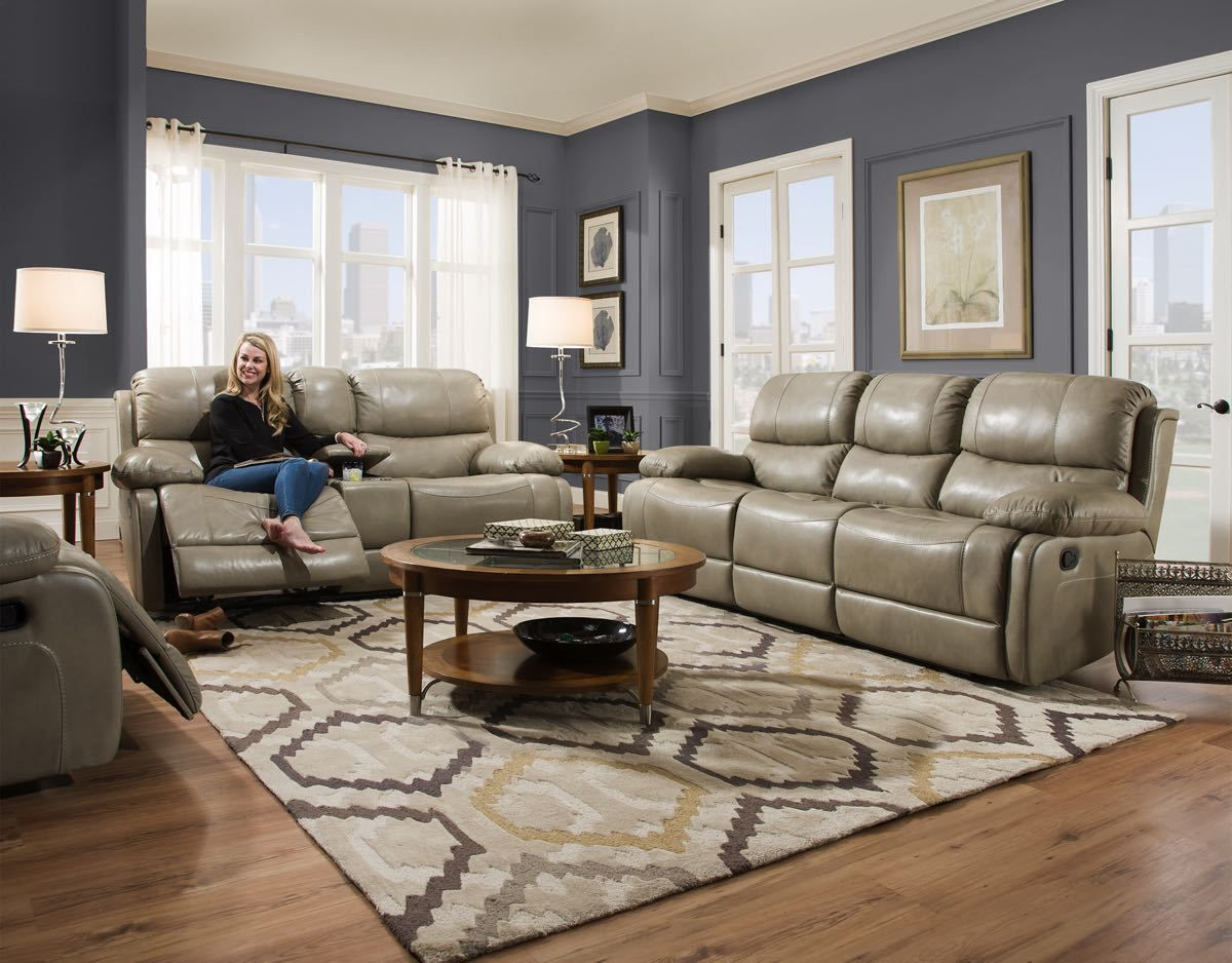 Softie Putty Genuine Leather Motion Sofa And Console Love Seat Top