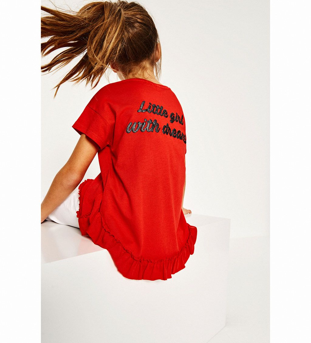 Frilled T Shirt With Back Text T Shirts Girl 4 14 Years Kids Zara United States Enfants Styles Mode Fille Enfants Elegants