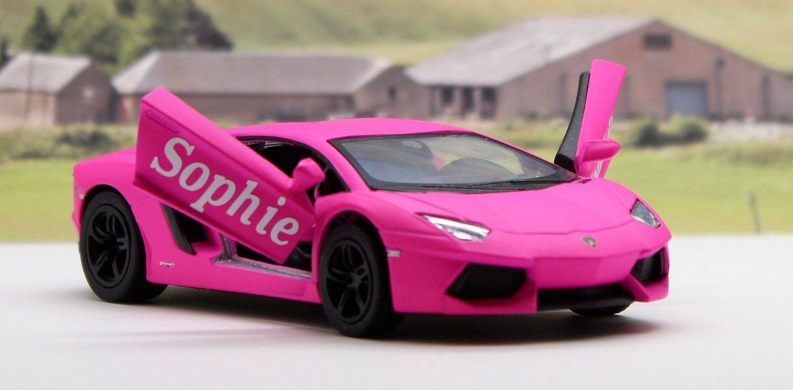 Personalised Name Personalized Name Gift Pink Diecast Etsy Pink Lamborghini Super Cars Images Car Number Plates