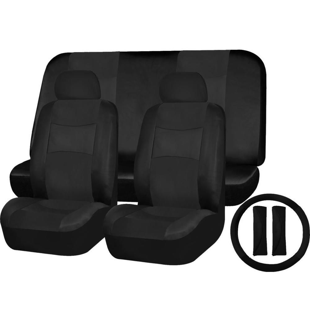 hight resolution of pu leather solid black seat covers 9pc set for saab 9 3 9 7x uaainc