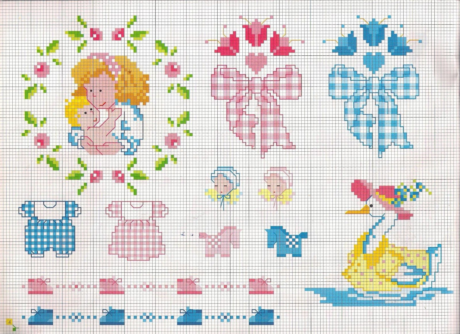 Ricami lavori e centinaia di schemi a punto croce di for Ricami punto croce per neonati