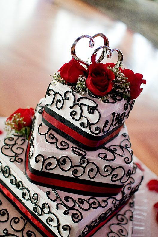 Pin on 1 Love U For Life   Affordable Wedding Cakes Black And Red