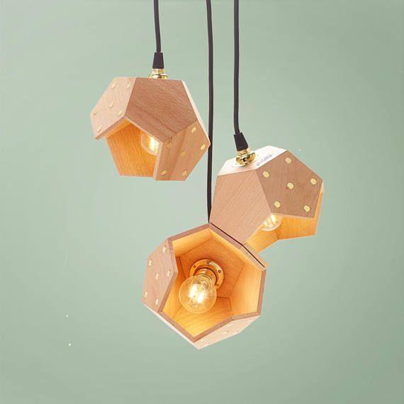 Lampadario legno, lampada sospensione, lampada legno