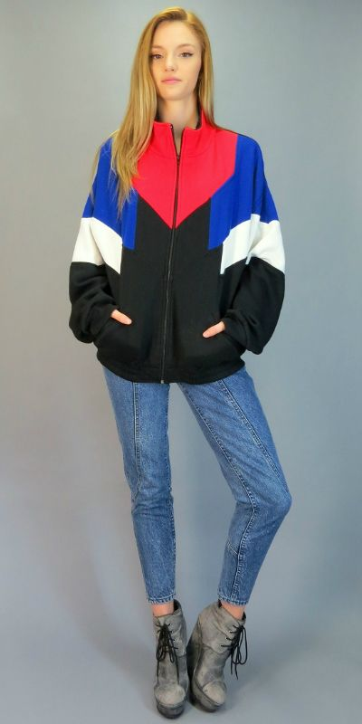Vintage 80s 90s Zip Up Sweatshirt Jacket Color Block Retro Hipster Red Blue  White Black Geometric Oversized Acrylic Athletic Track Slouch Fit Coat by  ... 1c63c1211