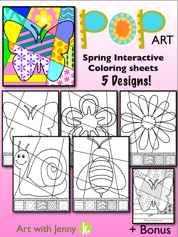 - Spring Pop Art Interactive Coloring Pages + Writing Fun Spring Activity  Art For Kids, Pop Art For Kids, Art Classroom