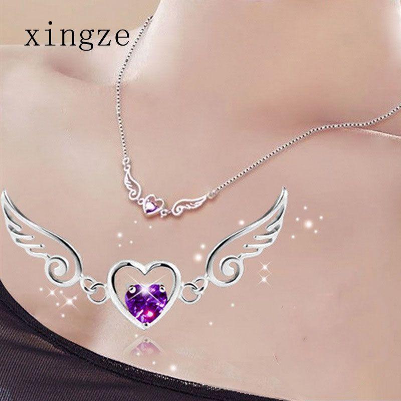 39c8fb3488359 Pas cher Argent plaqué bijoux gros amour ange ailes collier rêve amour coeur  cristal collier cadeau d anniversaire pour les femmes, Acheter Pendentifs de  ...