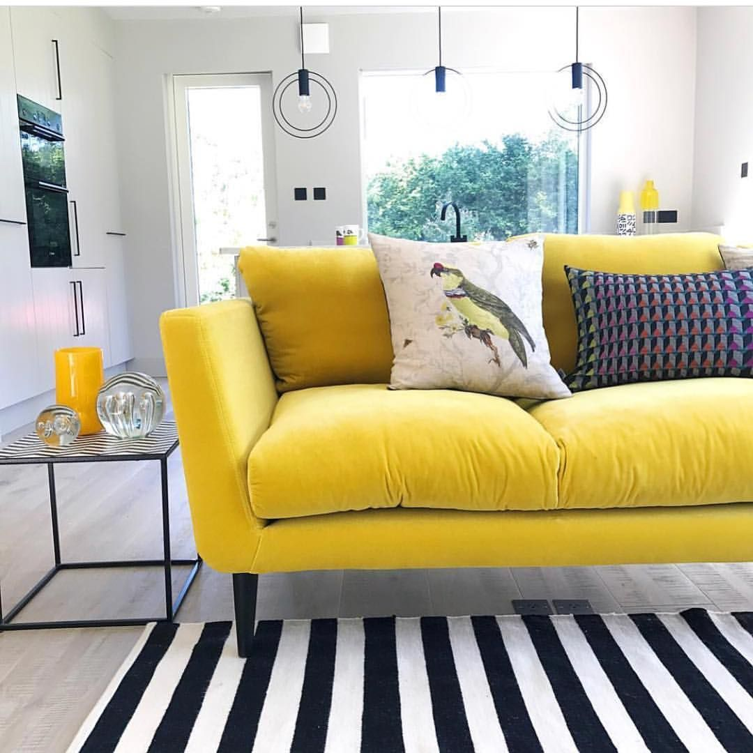 Sophie Robinson Interiors Love The Color Contrast Cheap Living Room Furniture Cheap Living Room Sets White Furniture Living Room #yellow #sofa #living #room #ideas