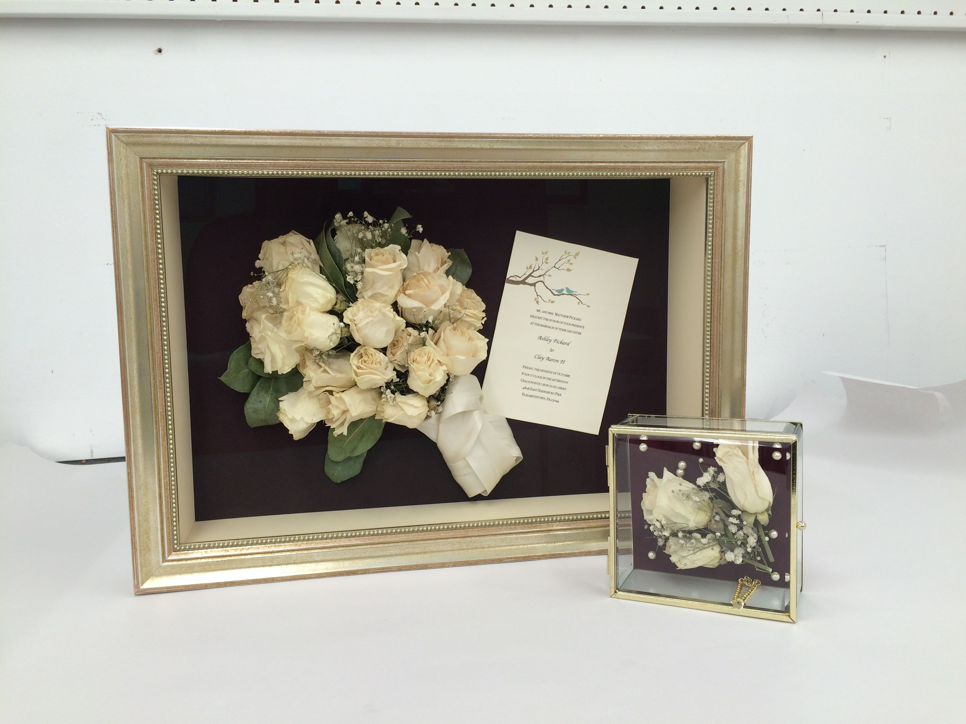 Dried Wedding Bouquet With Invitation In A Custom Shadow Box Mini Display Case With Dried Roses From The Same Bouqu Custom Shadow Box Wedding Bouquets Wedding