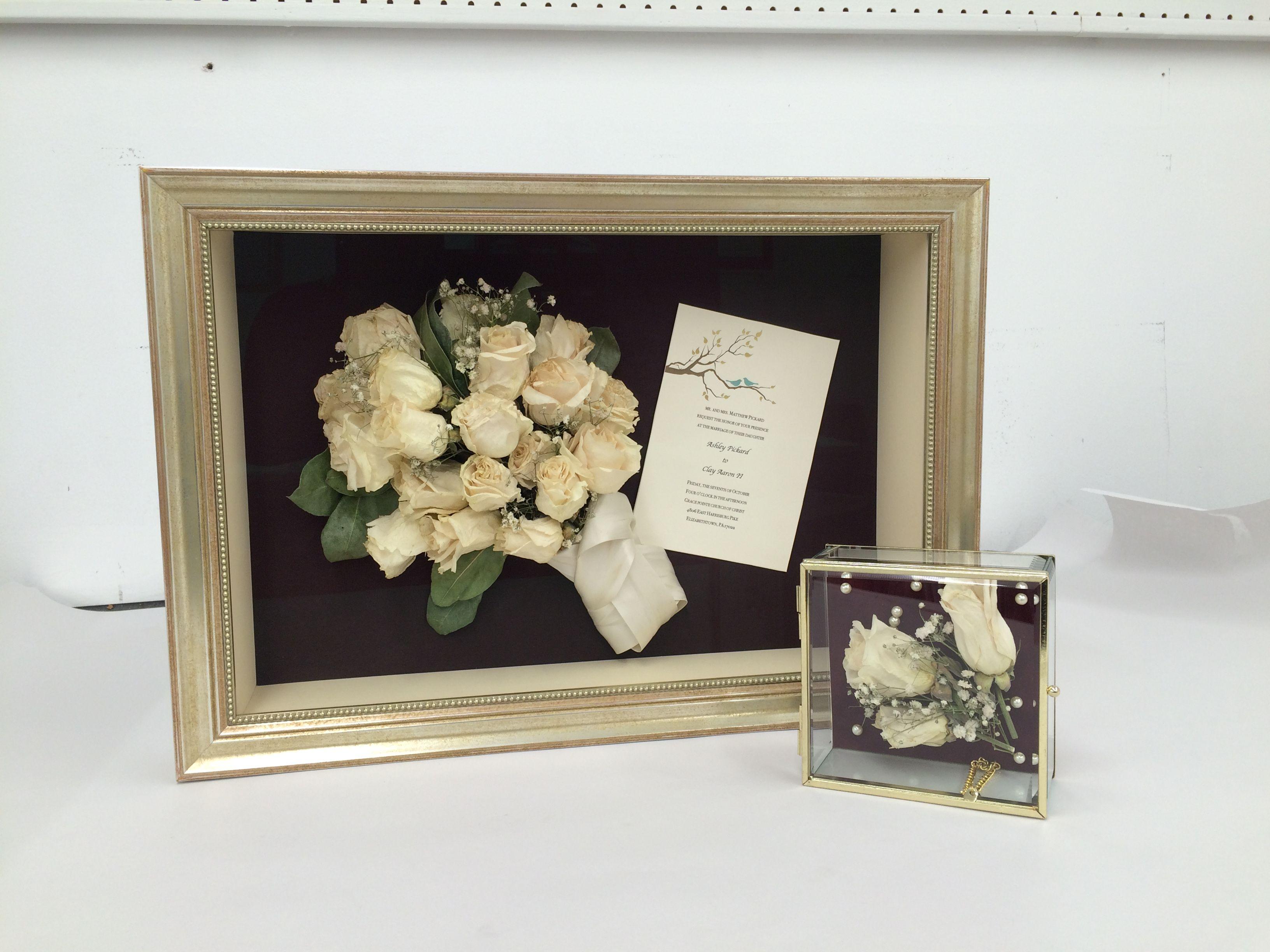 Dried wedding bouquet with invitation in a custom shadow box. Mini ...