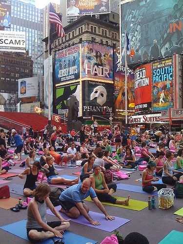 Yoga in Times Square, New York City