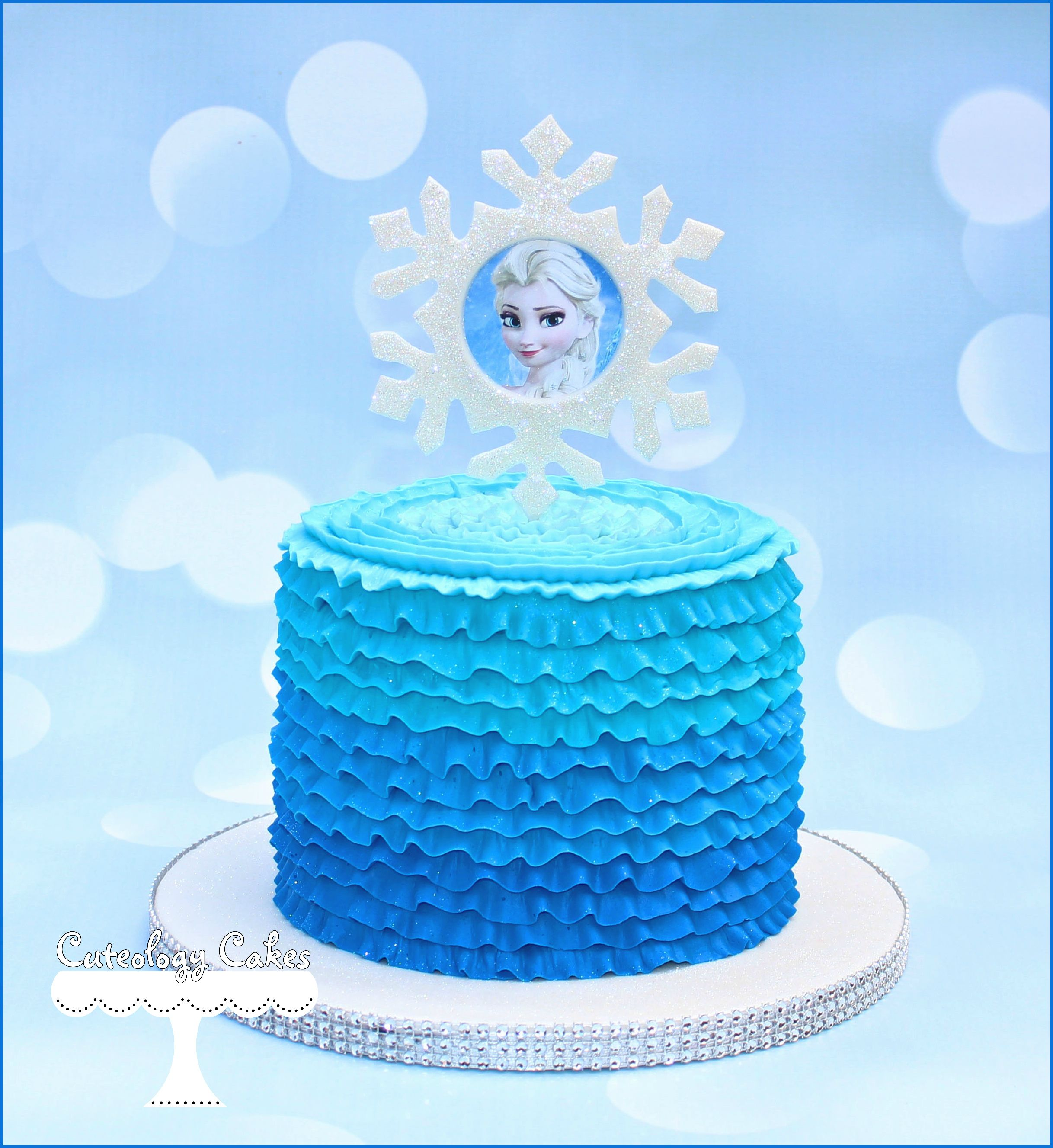 Elsa themed Frozen cakes with ombre buttercream ruffles www