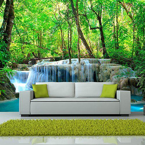 Fotomural Con Lago Y Cascada En Selva Fotomural Vinilos Paisajes Murales Para Dormitorios