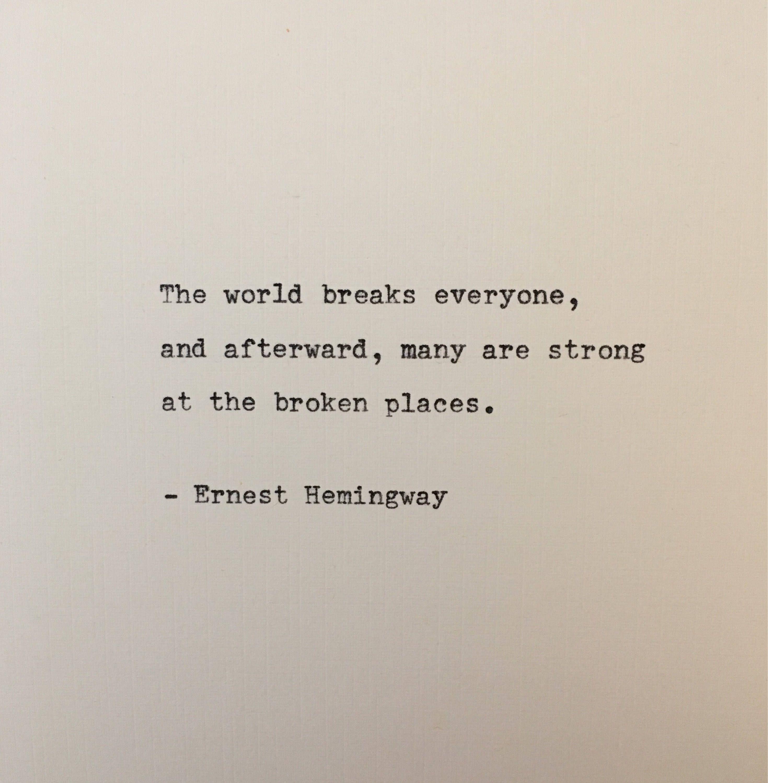 Ernest Hemingway quote typed on typewriter  unique gift   Etsy