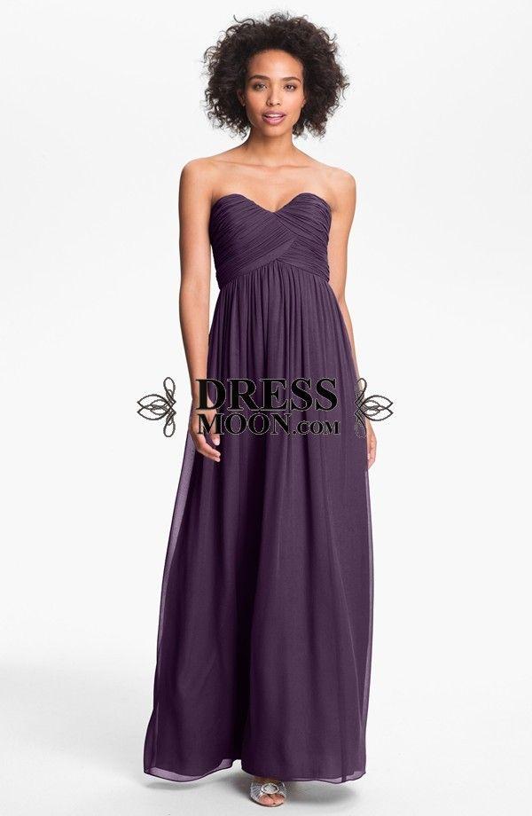 A Line Sweetheart Chiffon Ruched Long Bridesmaid Dress | my wedding ...