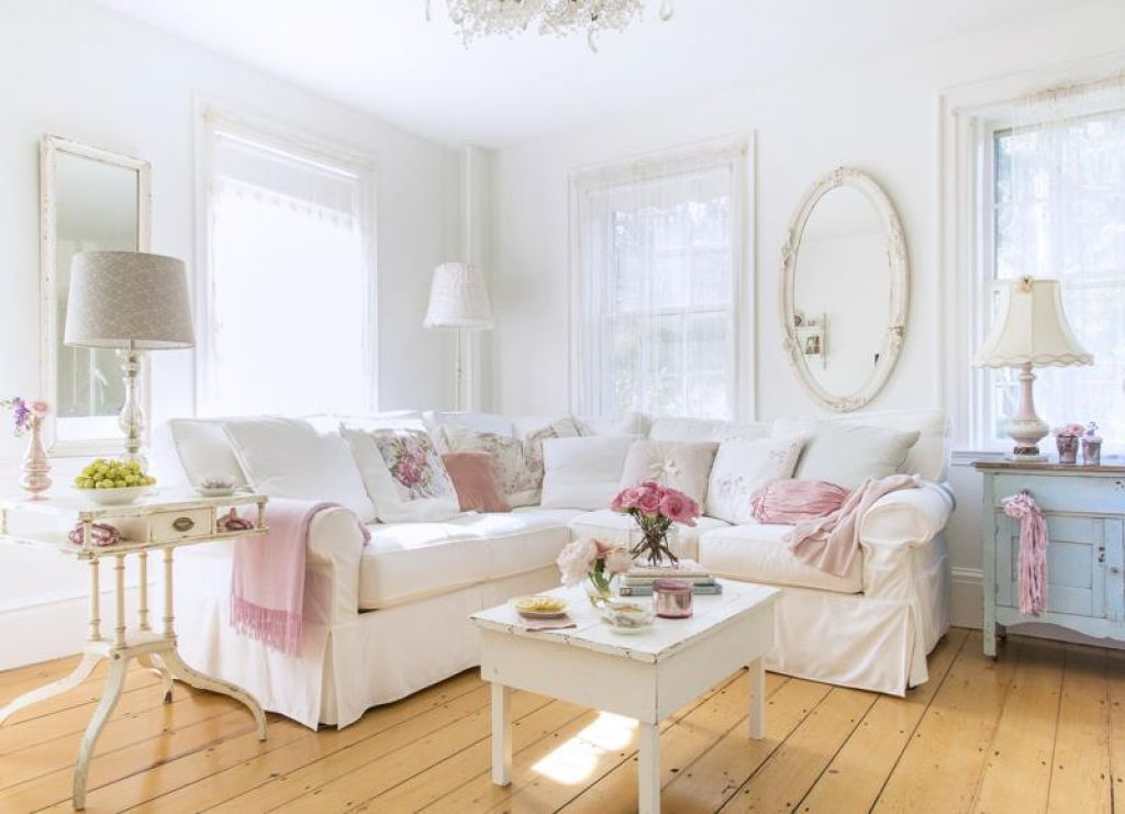 Exceptionnel Living Room With White Shabby Chic Wall Color And Sectional Sofa :  Beautiful Shabby Chic Wall Colors #shabbychicfurnituresofa