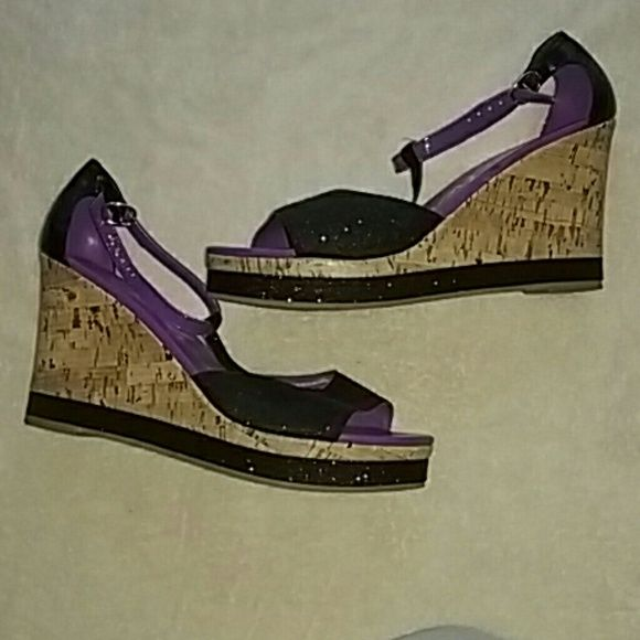 Skechers wedges These are awesome! Purple and black wedges with strap at ankle. only worn twice, great condition, like new  *no Trades *pet/Smoke free home *Please read description before purchasing, ask questions *open to offers Skechers Shoes Wedges
