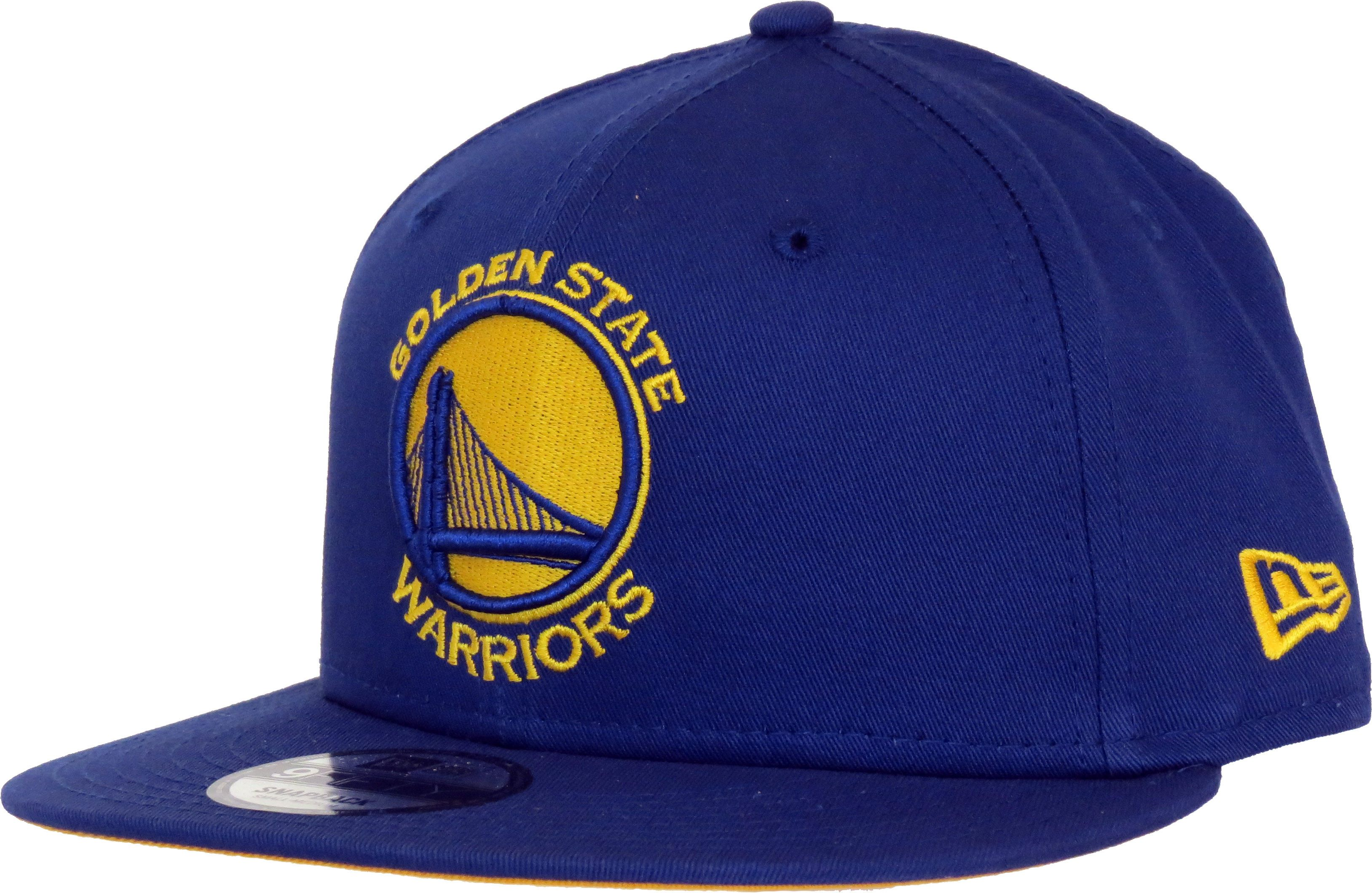 reputable site 7b70d 0496b New Era 950 NBA Team Classic snapback Cap. Blue with the Golden State  Warriors front logo, the New Era and NBA side logo, and the Yellow visor  underside.
