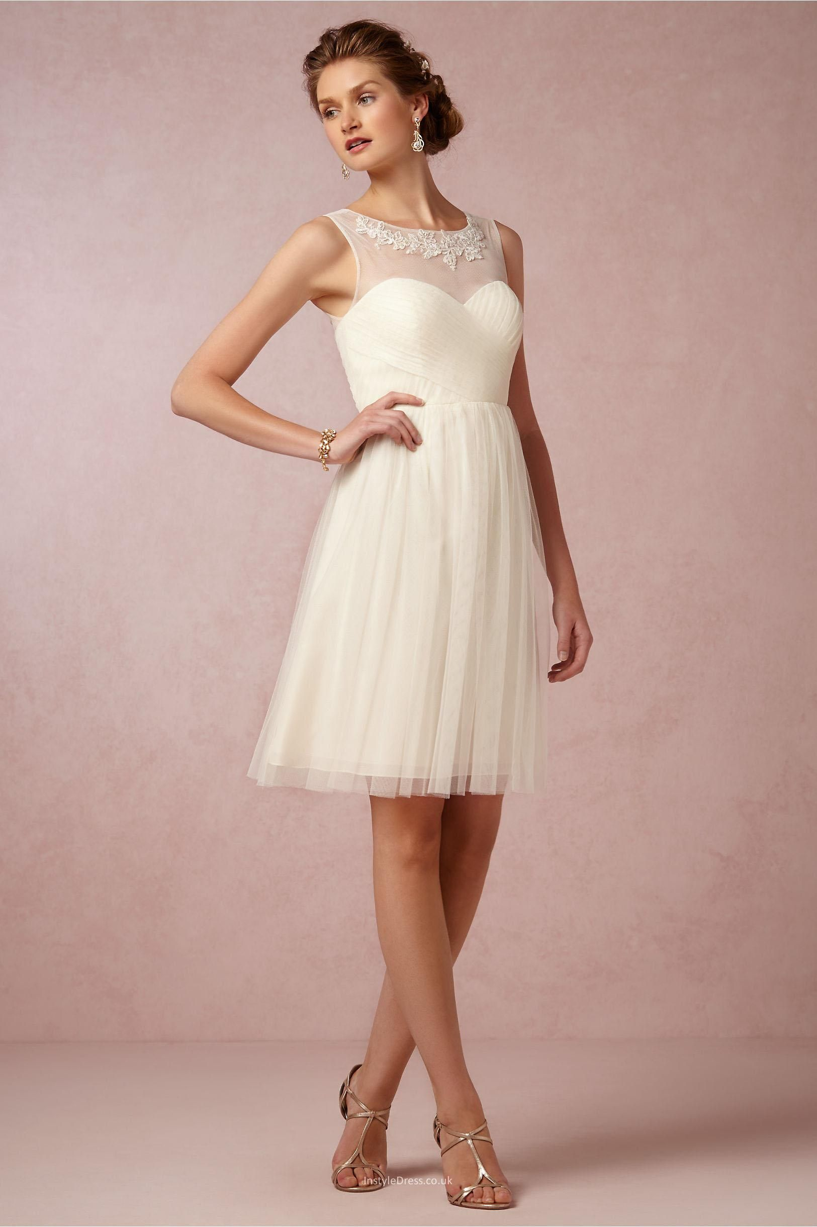 elegant short knee length a line cream tulle bridesmaid dress | in ...