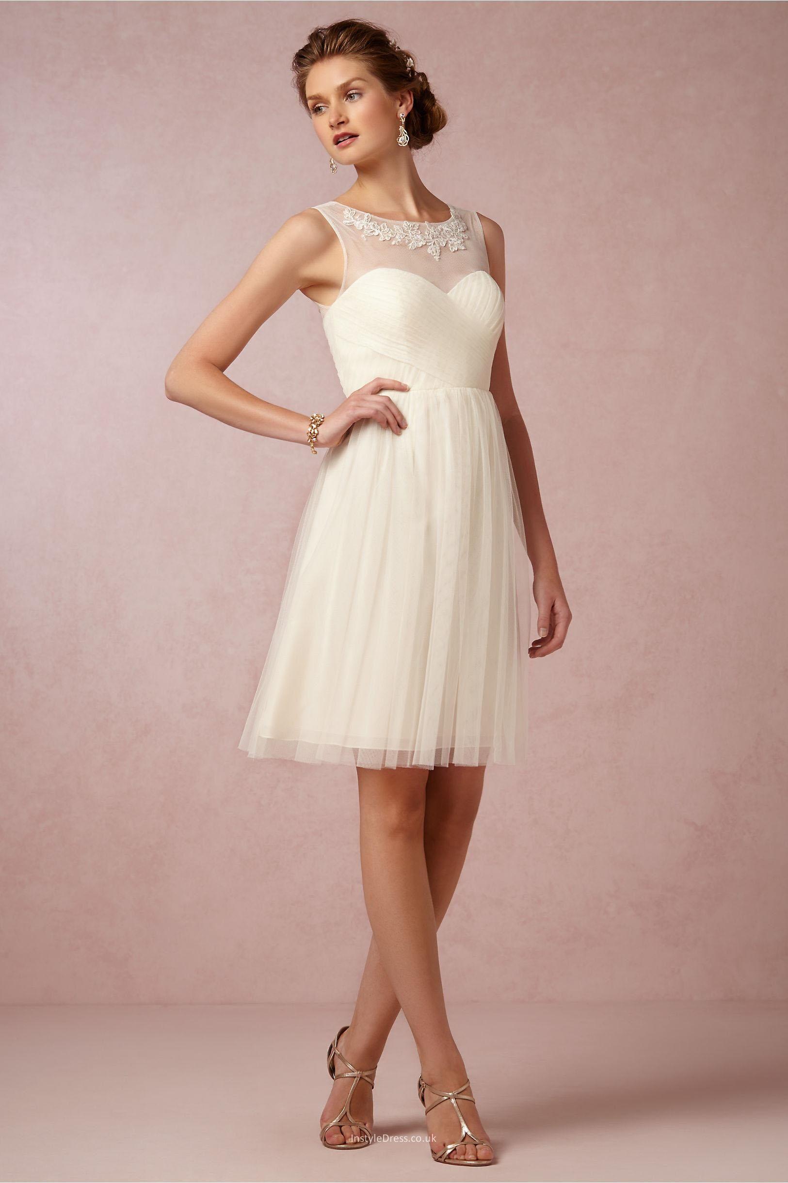 elegant short knee length a line cream tulle bridesmaid dress ...