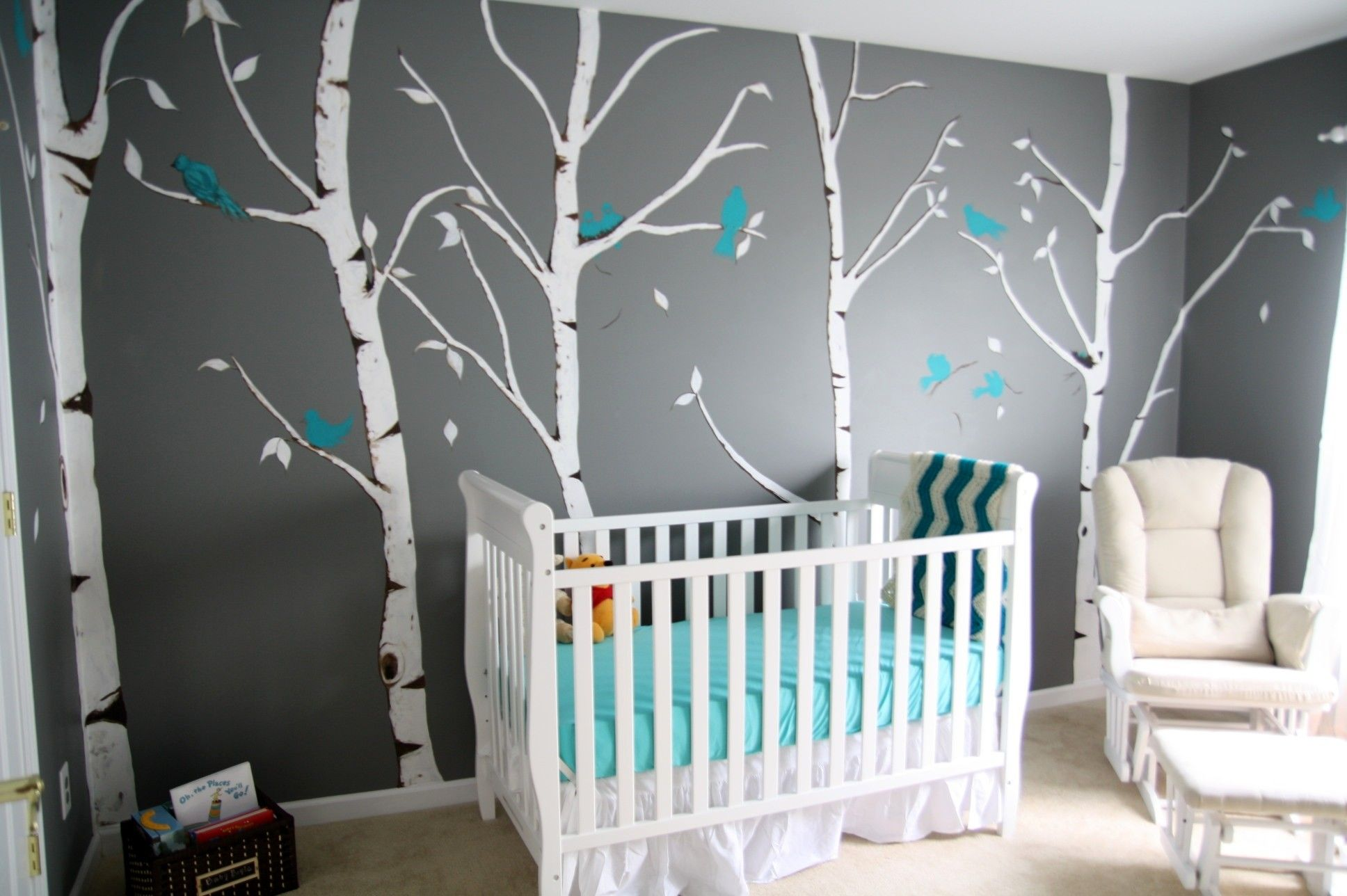 Baby Nursery Decor Modern Decorating Room Boy Ideas White Bed Furniture Pooh Accessories Forest Wall Art Blue Birds Dark Gray Colored