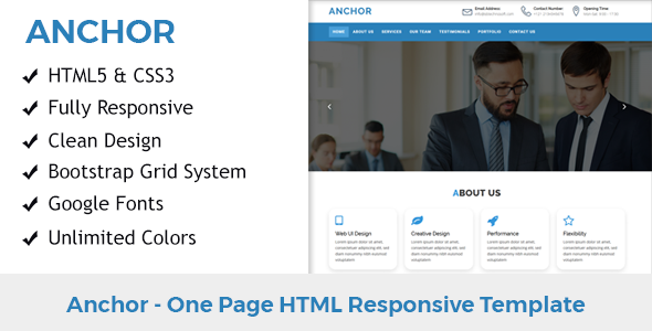 Anchor One Page Html Responsive Template Responsive
