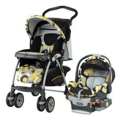 Chicco Cortina Keyfit 30 Travel System, Yellow Car Seat And Stroller